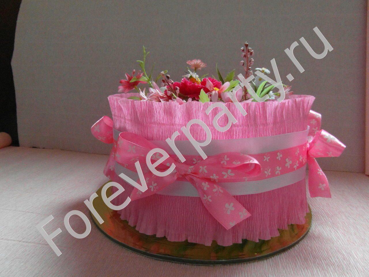 Торт из памперсов для девочки своими руками одноярусный 54