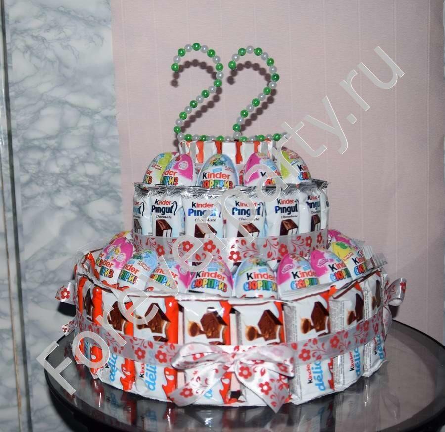 Подарок из киндеров торт 89